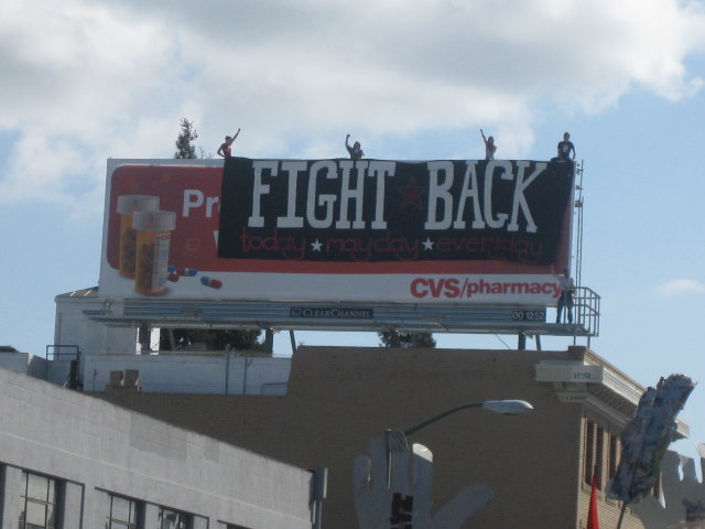 Banner Drop:  Fight back.  Today.  Mayday.  Everyday.