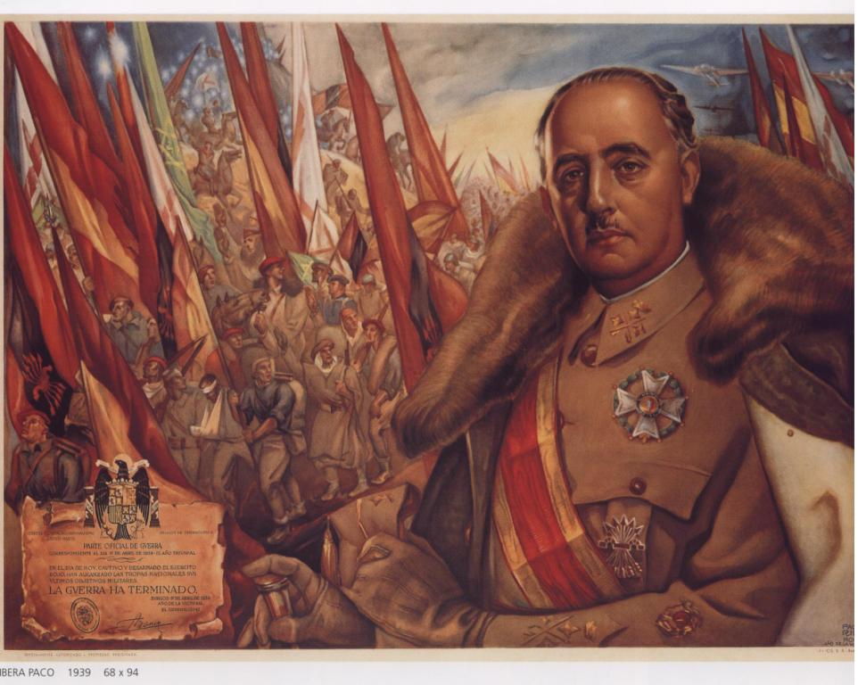 Spanish: Images of Franco were displayed throughout Spain on posters designed under strict control to work as propaganda. Posters would often be displayed in home windows and businesses.