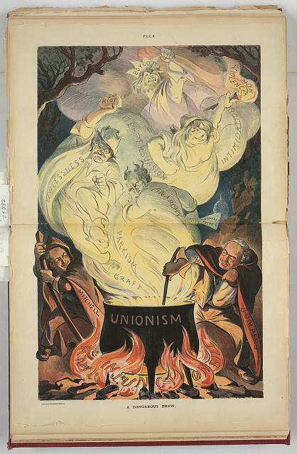 Anti-AFL propaganda depicts Gompers and Mitchell as Witches brewing a dangerous brew