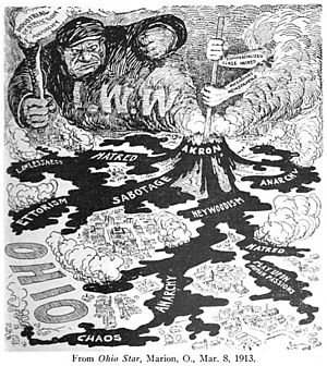 Anti-IWW Cartoon in the Ohio Star 1913