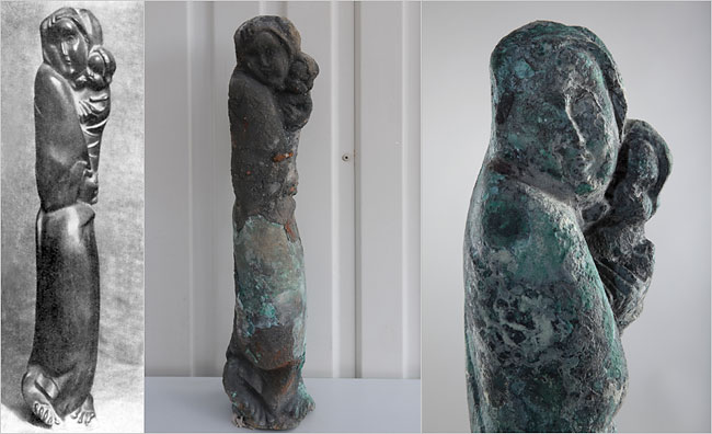 """Hagar"" by Karl Kanppe. From left, the original bronze, the condition when discovered, and as it appears now, cleaned and on display at Berlin's Neues Museum."