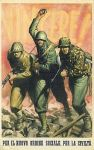 Italian. Japanese, German and Italian soldiers attacking. Victory. For the new social order, for civilization