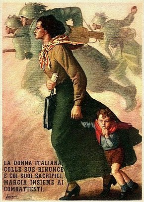 Italian. The Italian woman with her son renounce, and with sacrifice march along with the fighters.