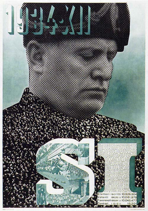 Italy. Poster celebrating the popular support for Mussolini, made by Schavinsky in 1934. An example of modernist art.