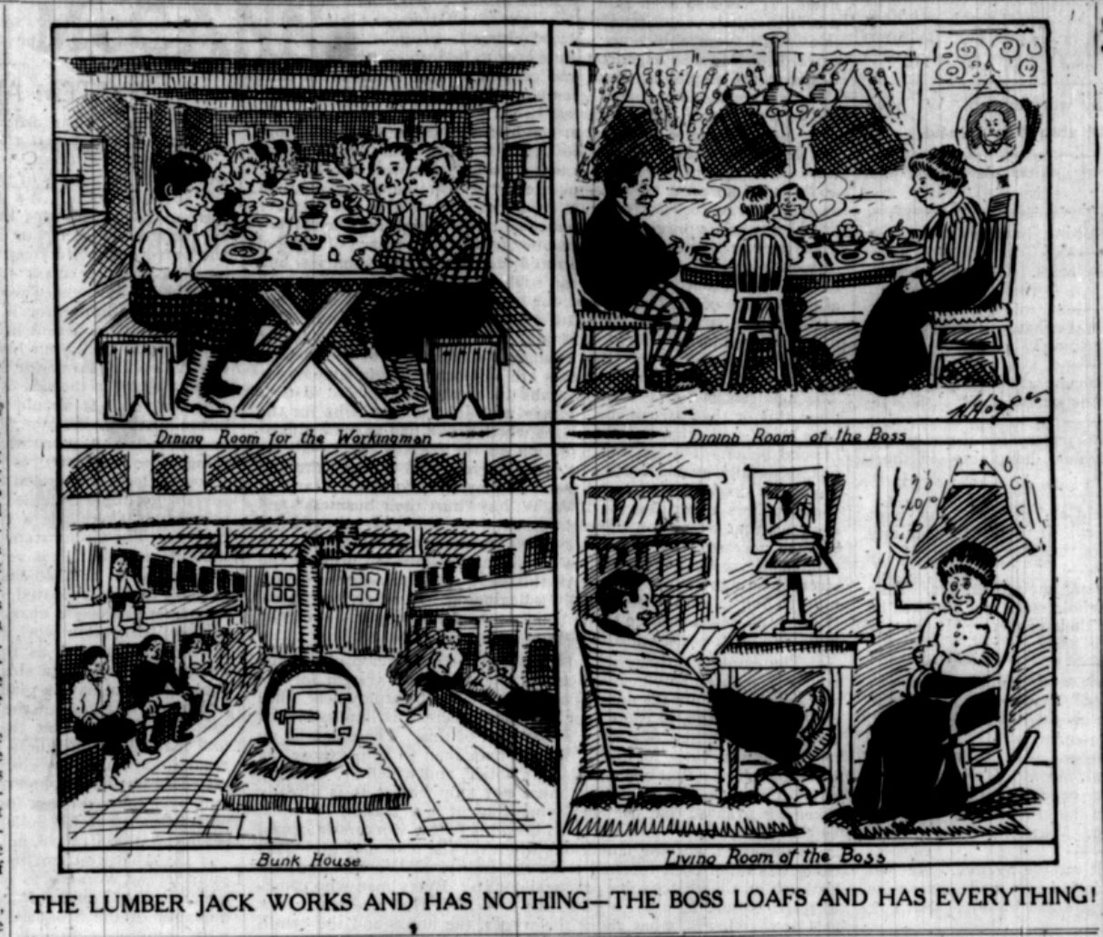 IWW cartoon contrasts the lifestyle lead by the workingman against that of the employer.