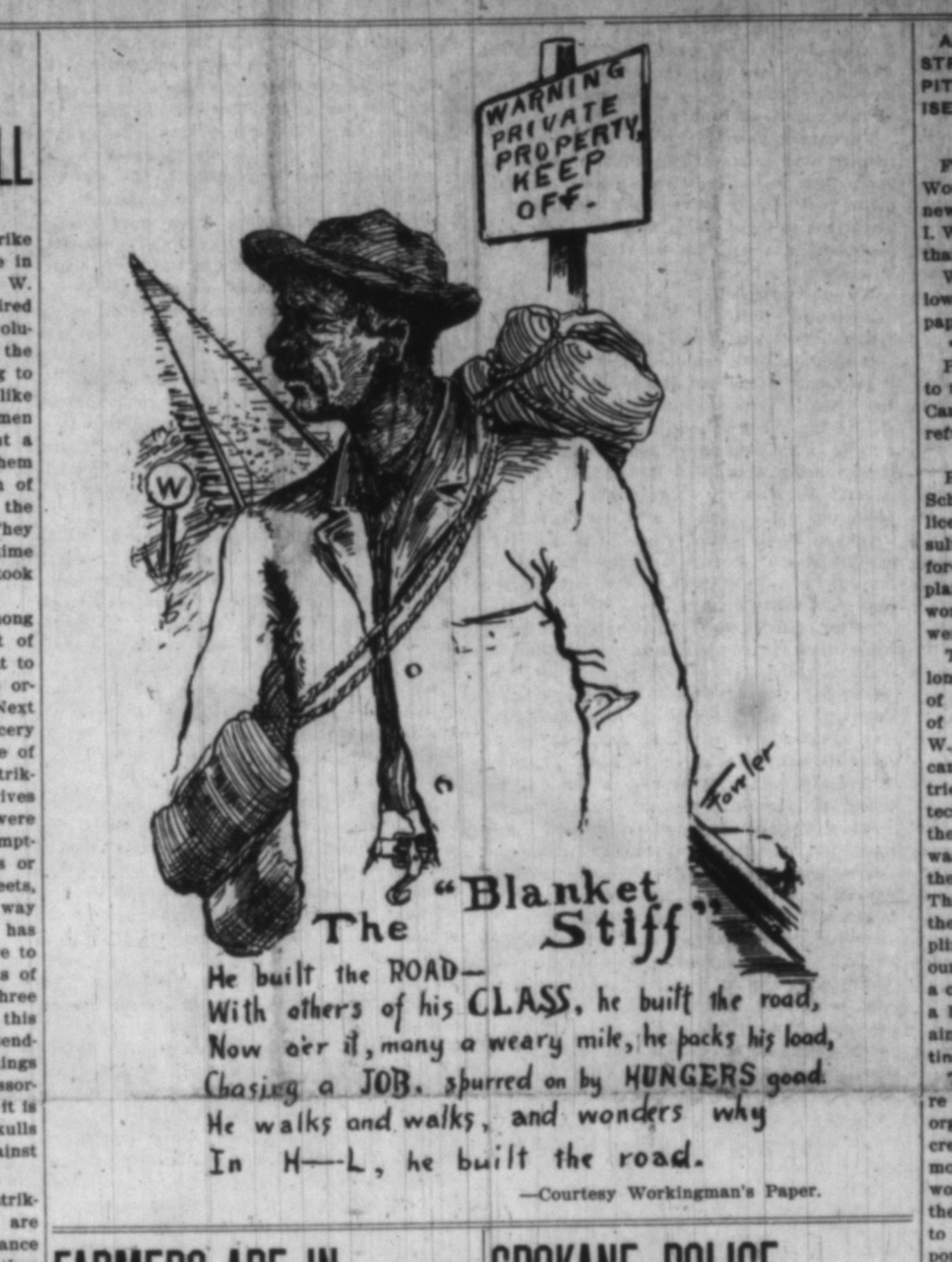 IWW Cartoon: The Blanket Stiff