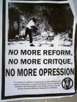 No more reform, no more critique, no more repression