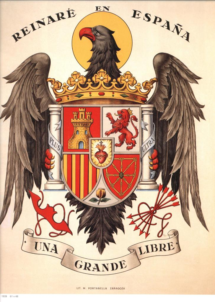 Spain. Reinaré en España. Franco coat of arms.
