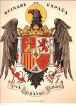 Spain. Reinaré en España. Franco coat of arms.