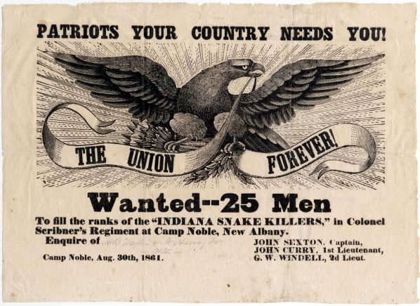 Union Recruitment Poster, Indiana Snake Killers